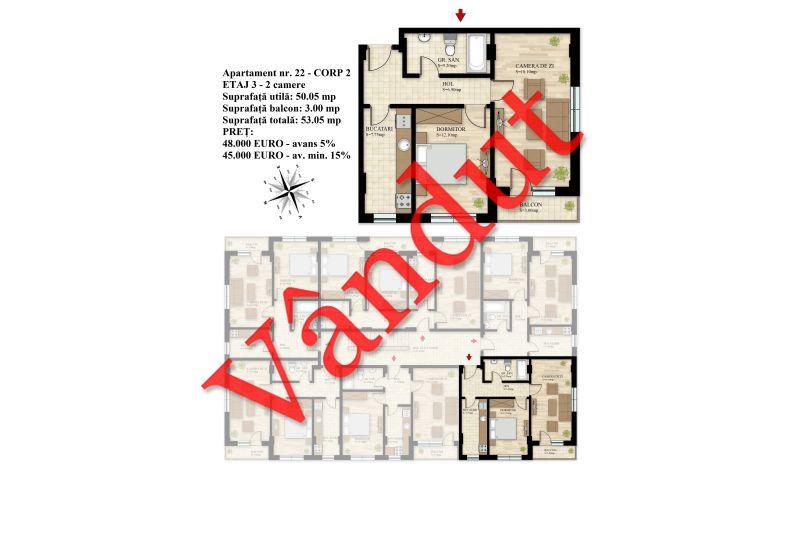 Apartament 2 camere, 50 mp, Nr. 22 E3 C2, Berceni Residence II