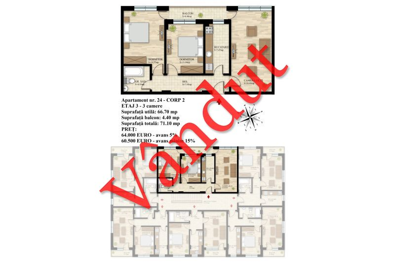 Apartament 3 camere, 67 mp, Nr. 24 E3 C2, Berceni Residence II
