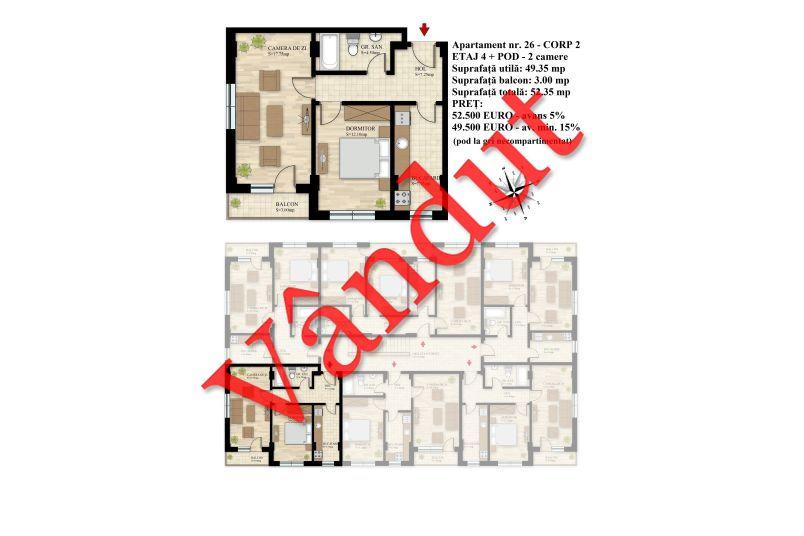 Duplex 3 camere, 49 mp, Nr. 26 E4 C2, Berceni Residence II