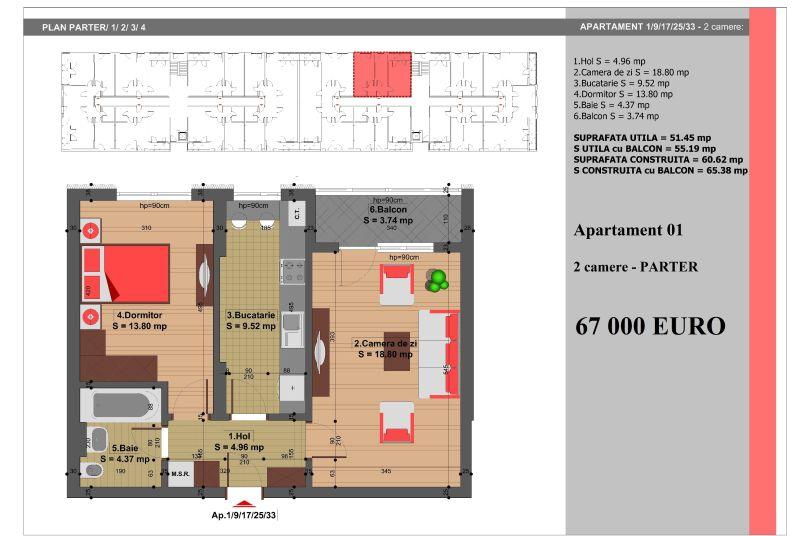 Apartament 2 camere, 51 mp, Nr. 1, Nicolae Grigorescu Residence