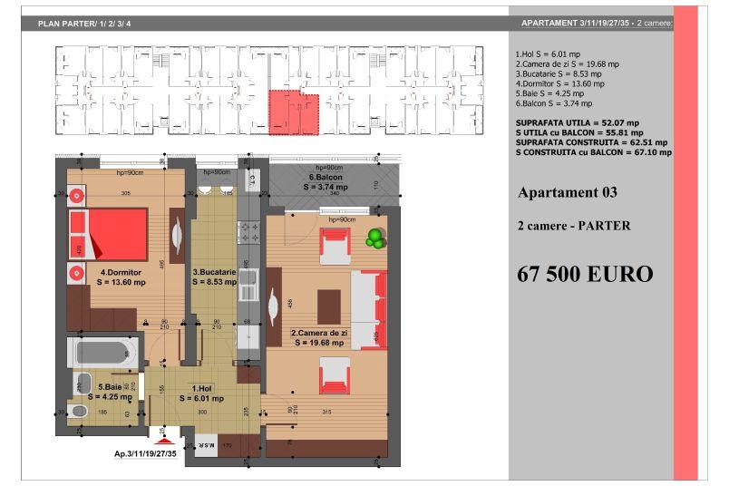 Apartament 2 camere, 52 mp, Nr. 3, Nicolae Grigorescu Residence