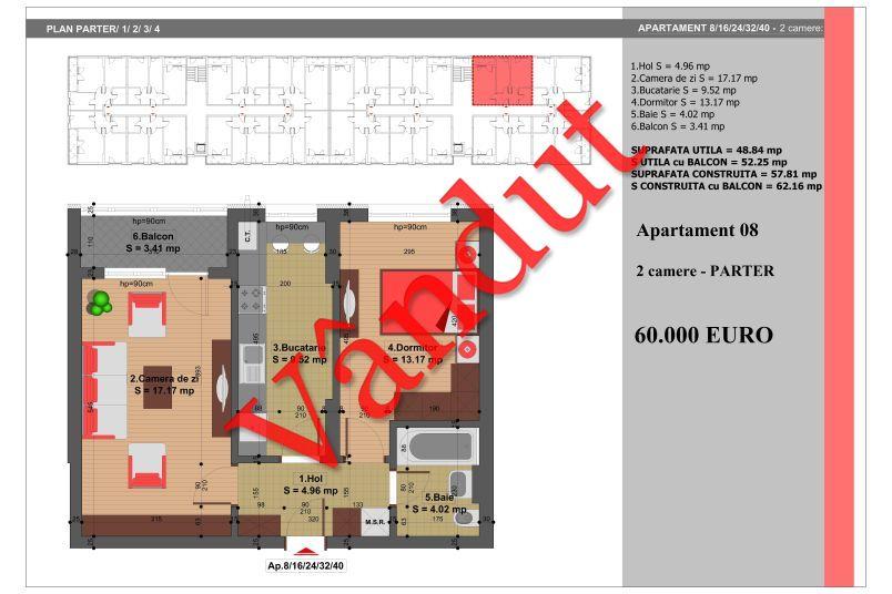 Apartament 2 camere, 49 mp, Nr. 8, Nicolae Grigorescu Residence
